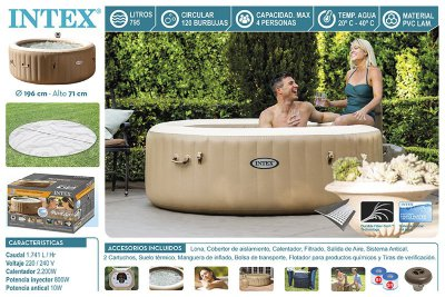 Надувная джакузи PureSpa Bubble Therapy+Hard Water System intex 28426(28404)